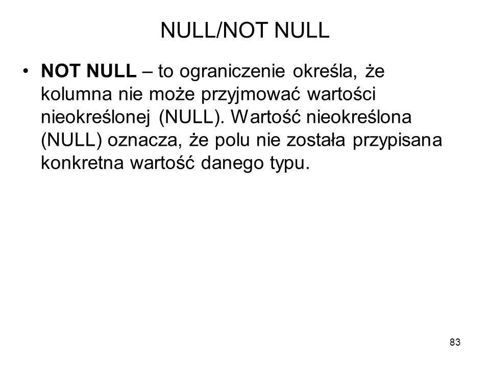 NULL/NOT NULL