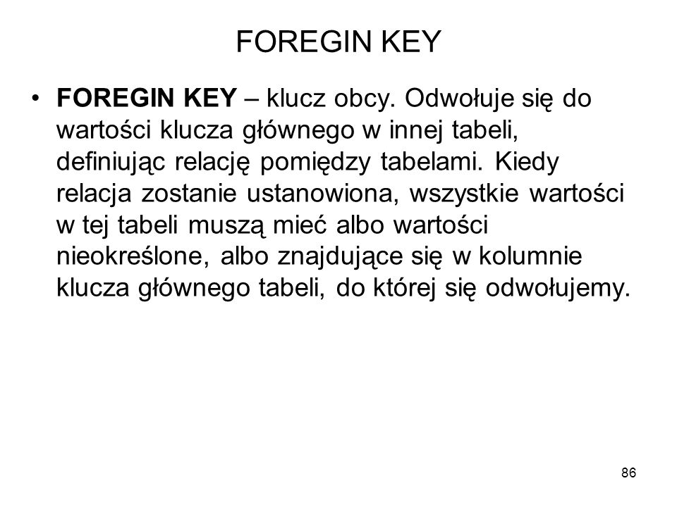 FOREGIN KEY
