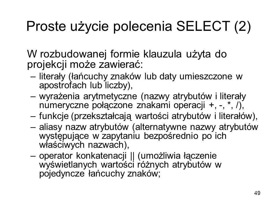 Proste użycie polecenia SELECT (2)
