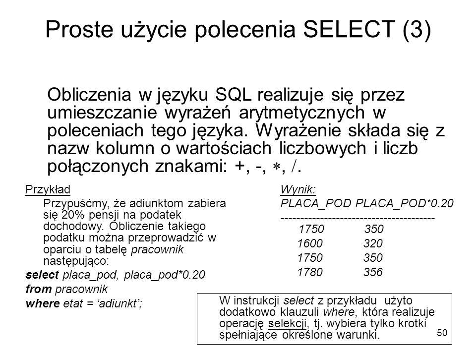 Proste użycie polecenia SELECT (3)