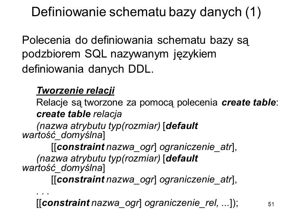 Definiowanie schematu bazy danych (1)