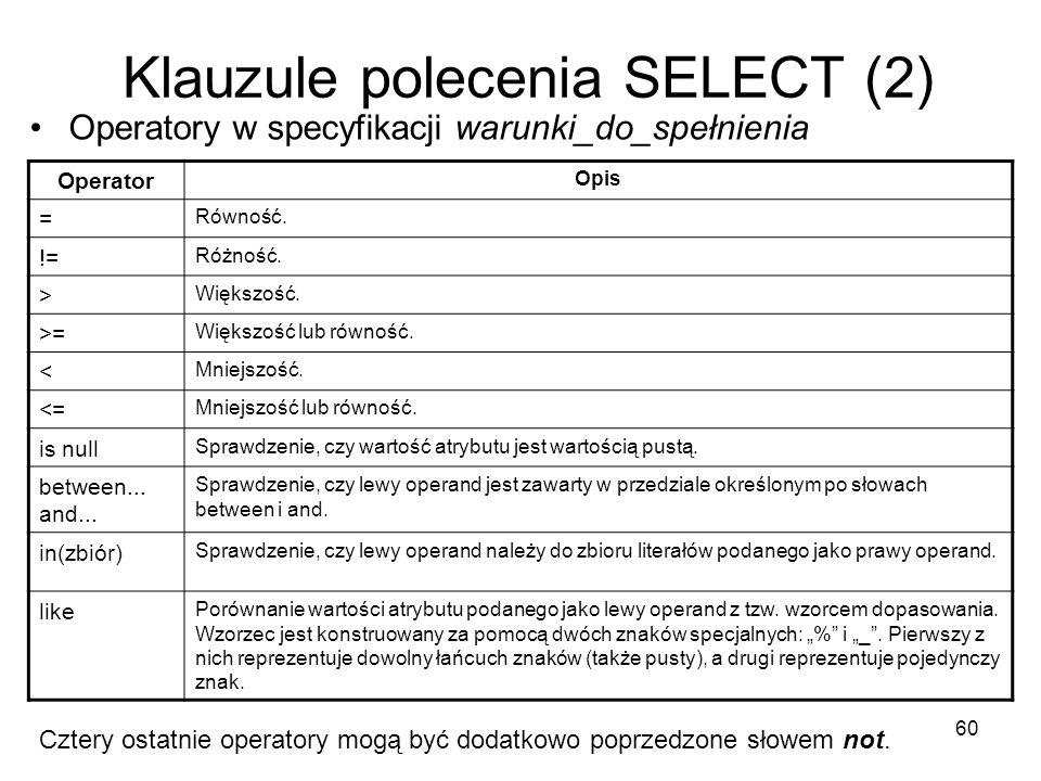 Klauzule polecenia SELECT (2)