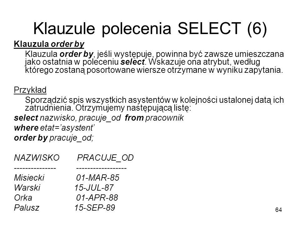 Klauzule polecenia SELECT (6)