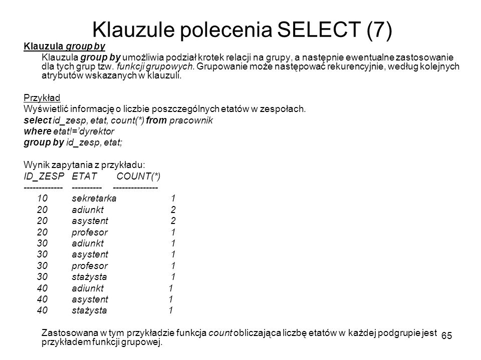 Klauzule polecenia SELECT (7)