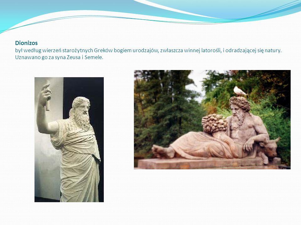 Dionizos był według wierzeń starożytnych Greków bogiem urodzajów, zwłaszcza winnej latorośli, i odradzającej się natury.