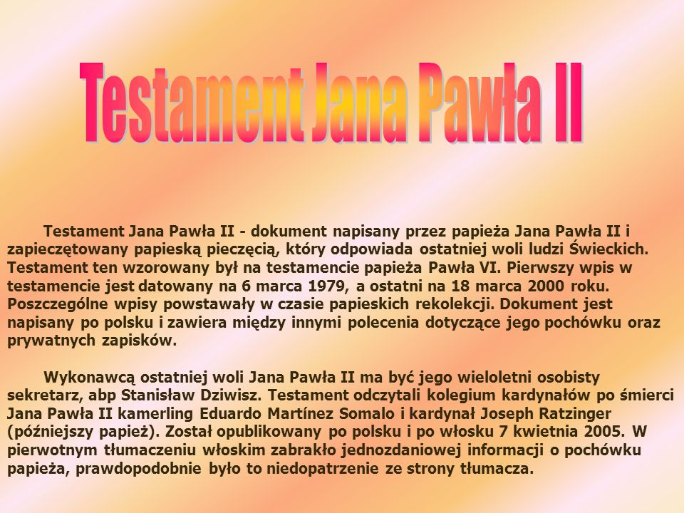 Testament Jana Pawła II