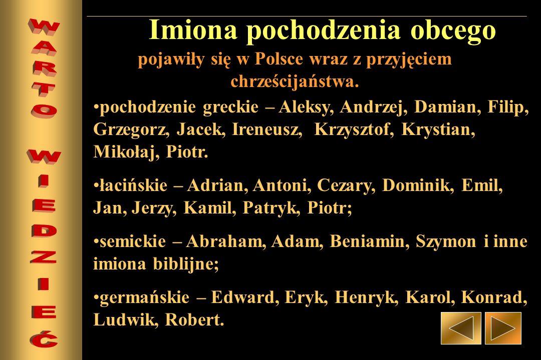 Imiona pochodzenia obcego