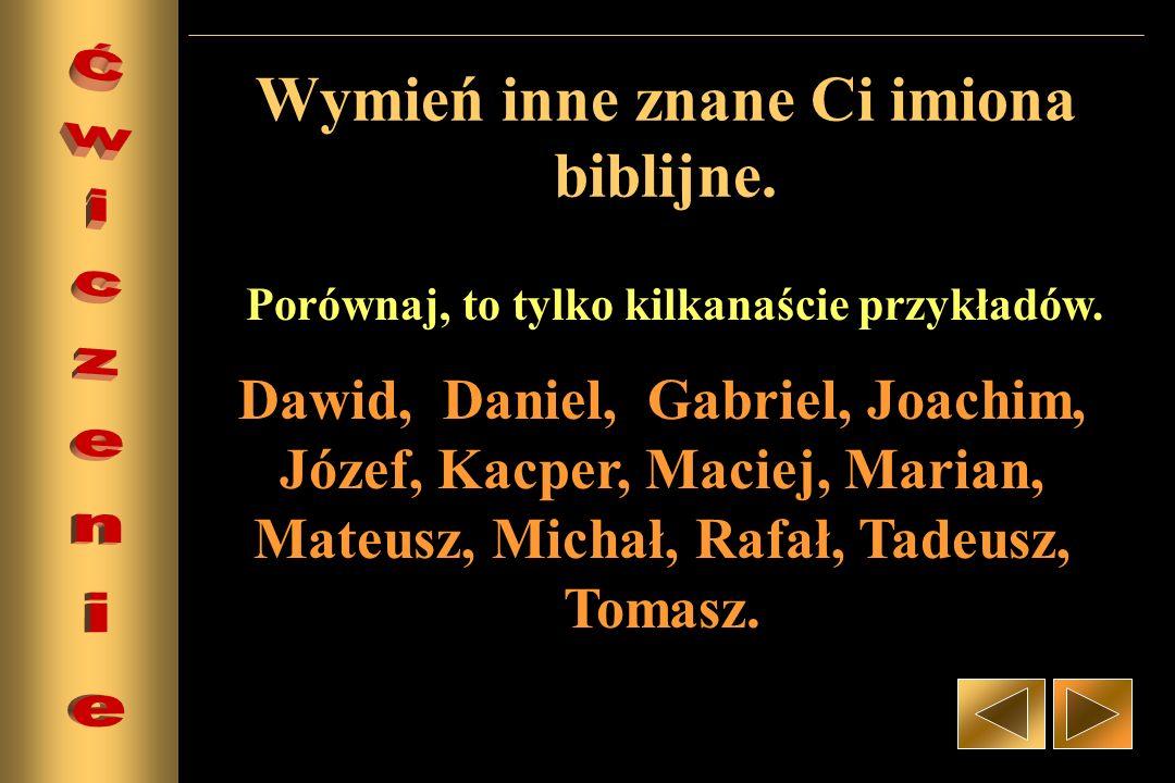 Wymień inne znane Ci imiona biblijne.