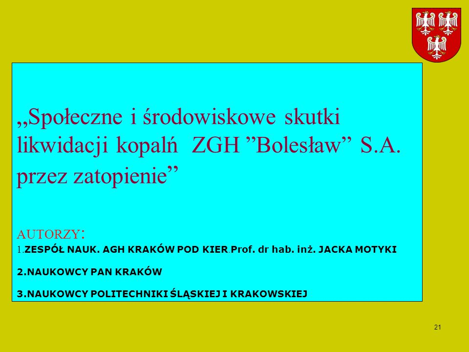 """""""Społeczne i środowiskowe skutki likwidacji kopalń ZGH Bolesław S. A"""