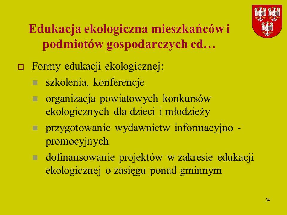 Edukacja ekologiczna mieszkańców i podmiotów gospodarczych cd…