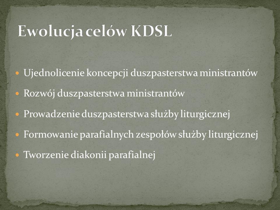 Ewolucja celów KDSL Ujednolicenie koncepcji duszpasterstwa ministrantów. Rozwój duszpasterstwa ministrantów.