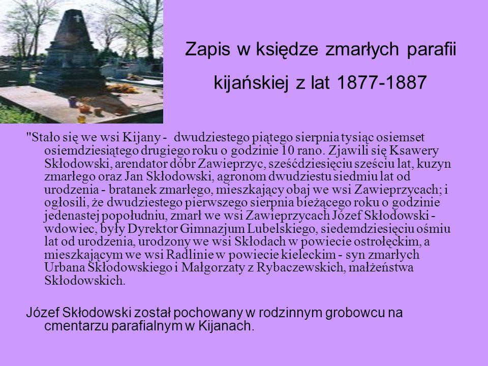 Zapis w księdze zmarłych parafii kijańskiej z lat 1877-1887