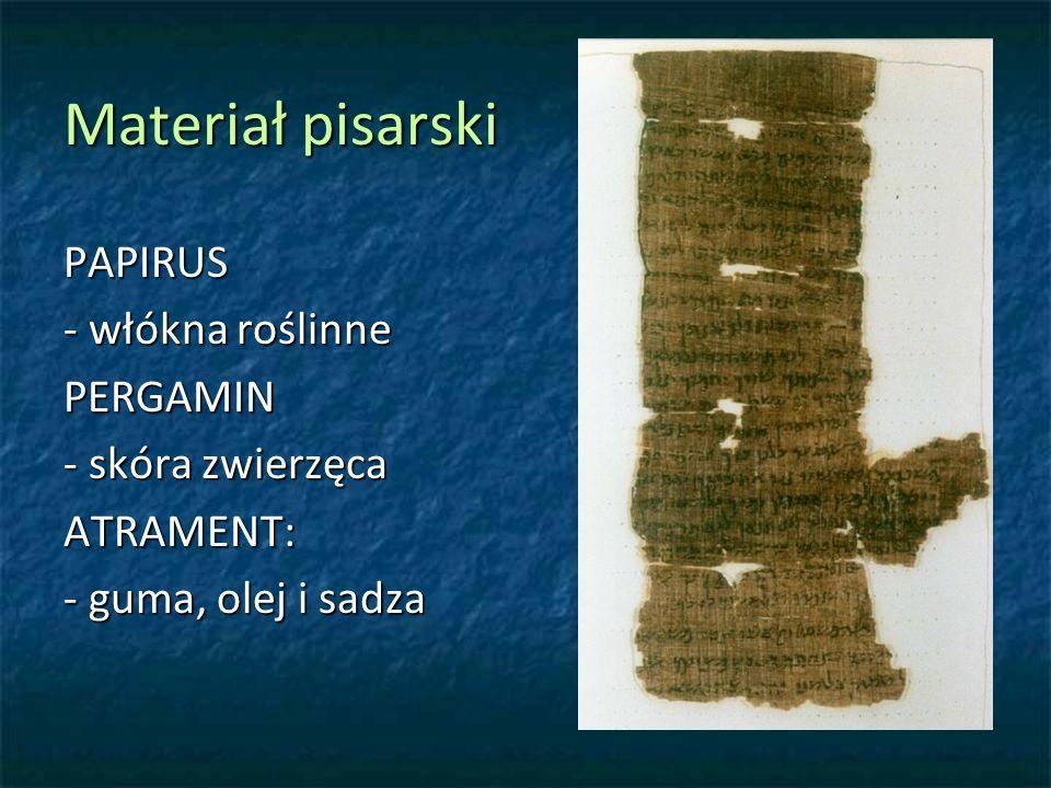 Materiał pisarski PAPIRUS - włókna roślinne PERGAMIN - skóra zwierzęca