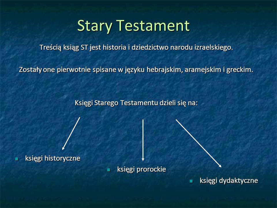Stary Testament Treścią ksiąg ST jest historia i dziedzictwo narodu izraelskiego.