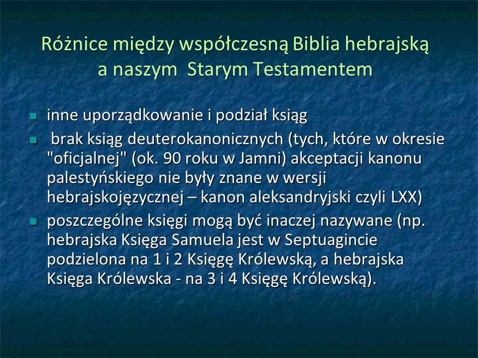Różnice między współczesną Biblia hebrajską a naszym Starym Testamentem