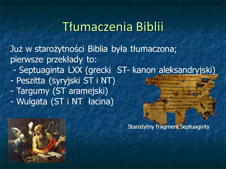 Tłumaczenia Biblii Już w starożytności Biblia była tłumaczona;