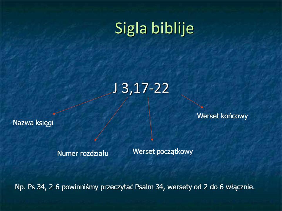 Sigla biblije J 3,17-22 Werset końcowy Nazwa księgi Werset początkowy