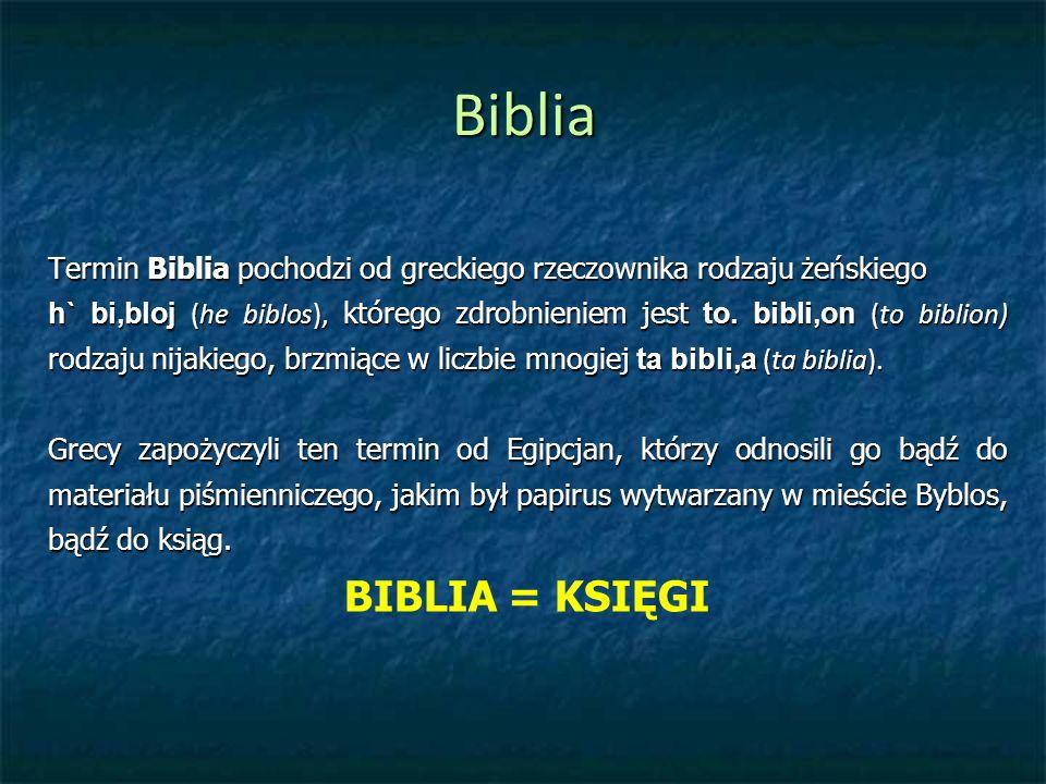 Biblia Termin Biblia pochodzi od greckiego rzeczownika rodzaju żeńskiego.