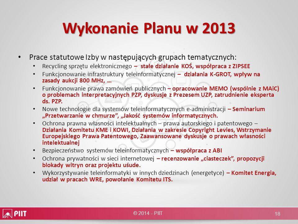 Wykonanie Planu w 2013 Prace statutowe Izby w następujących grupach tematycznych: