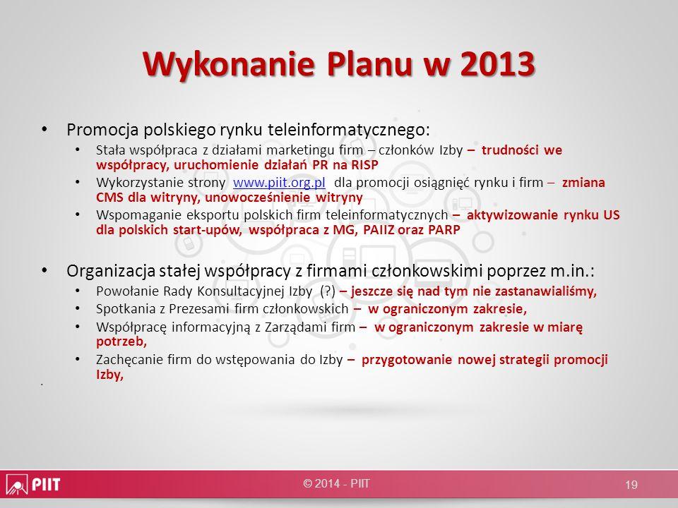 Wykonanie Planu w 2013 Promocja polskiego rynku teleinformatycznego: