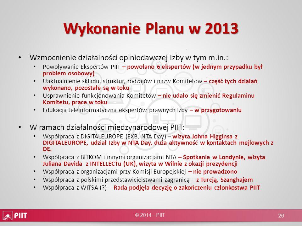 Wykonanie Planu w 2013 Wzmocnienie działalności opiniodawczej Izby w tym m.in.: