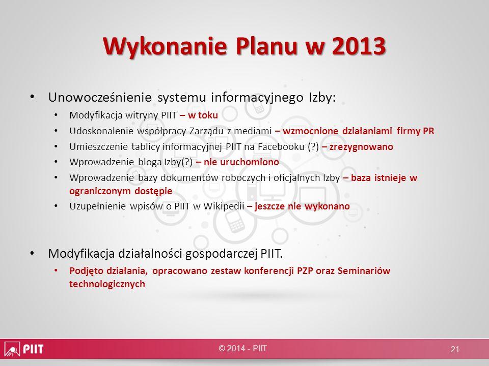 Wykonanie Planu w 2013 Unowocześnienie systemu informacyjnego Izby: