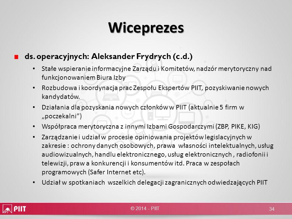 Wiceprezes ds. operacyjnych: Aleksander Frydrych (c.d.)