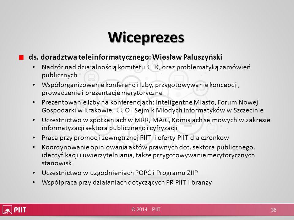 Wiceprezes ds. doradztwa teleinformatycznego: Wiesław Paluszyński