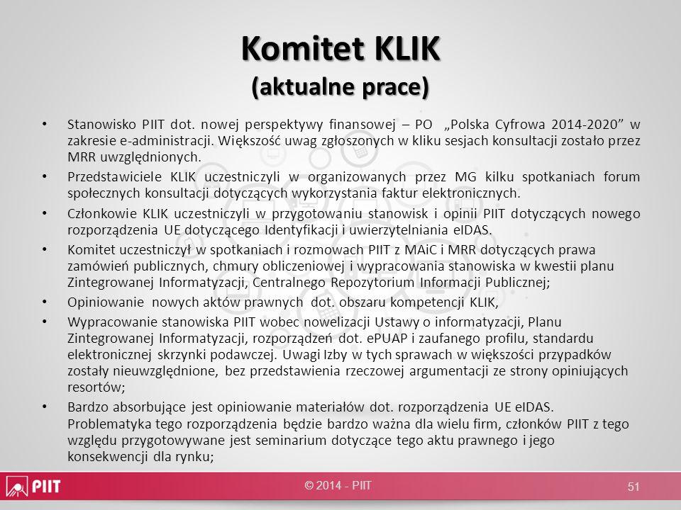 Komitet KLIK (aktualne prace)