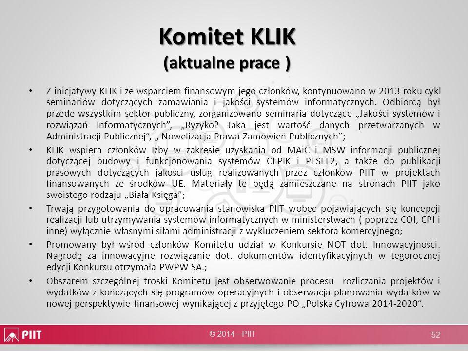 Komitet KLIK (aktualne prace )