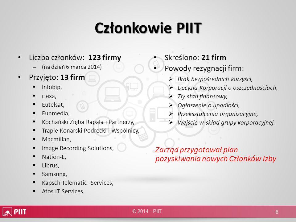 Członkowie PIIT Liczba członków: 123 firmy Przyjęto: 13 firm