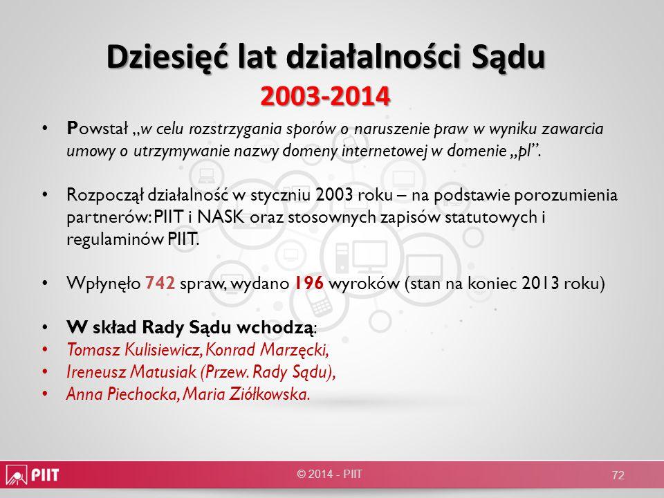 Dziesięć lat działalności Sądu 2003-2014
