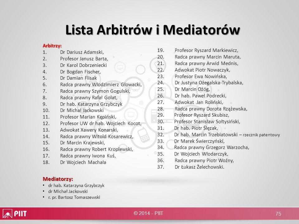 Lista Arbitrów i Mediatorów