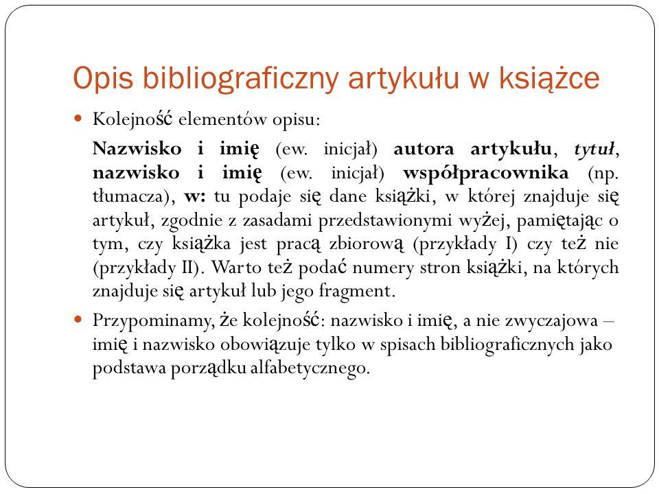 Opis bibliograficzny artykułu w książce