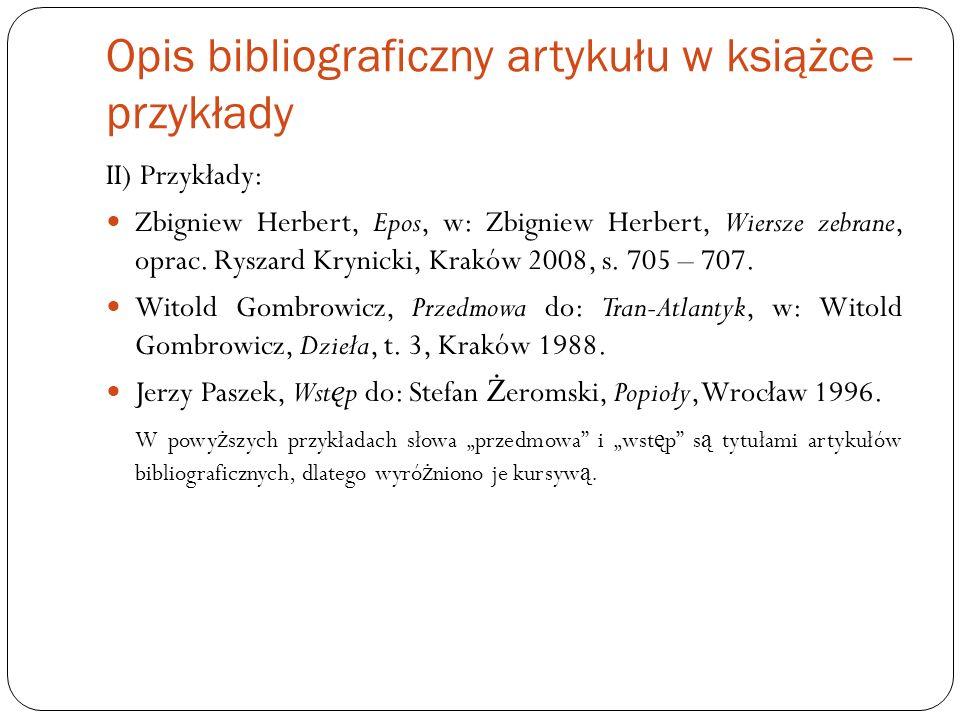 Opis bibliograficzny artykułu w książce – przykłady