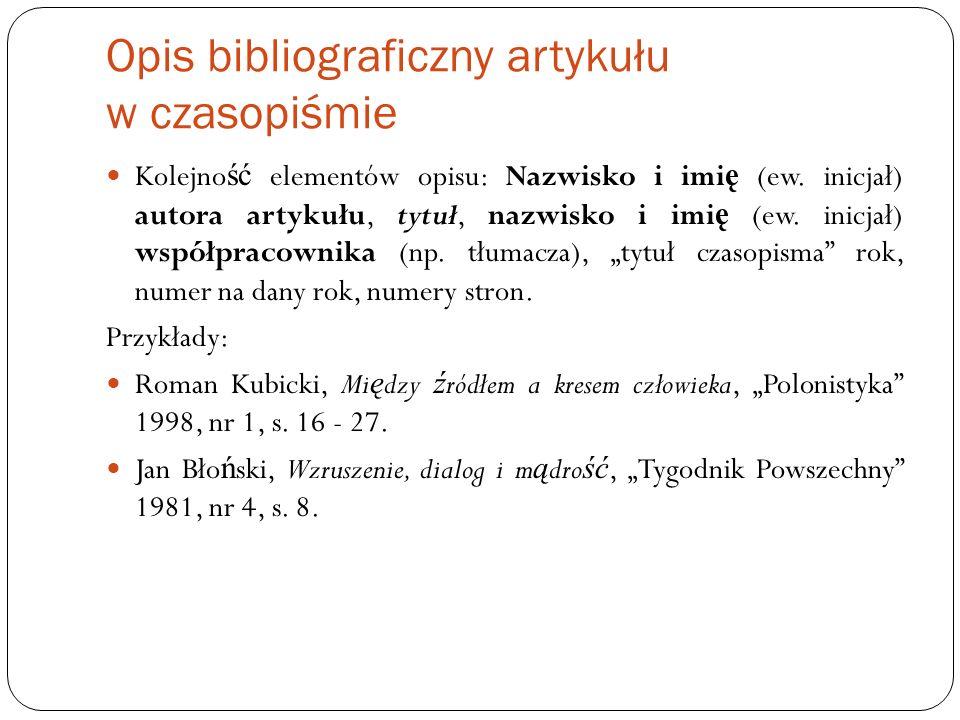 Opis bibliograficzny artykułu w czasopiśmie