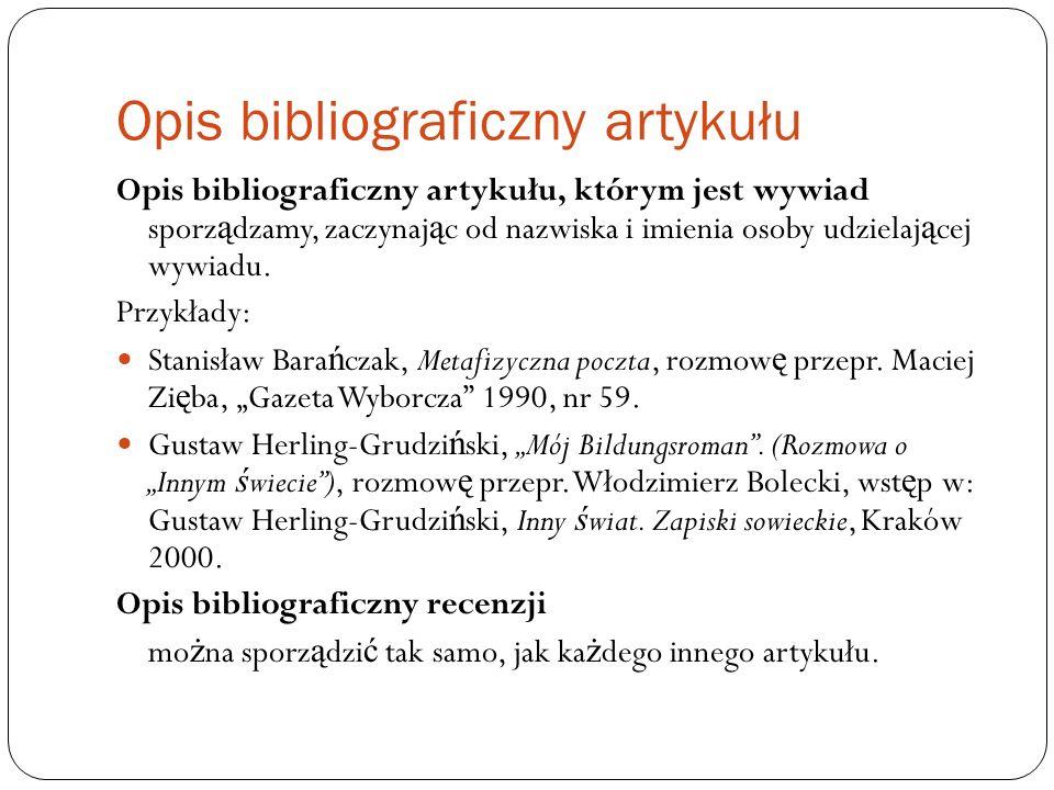 Opis bibliograficzny artykułu