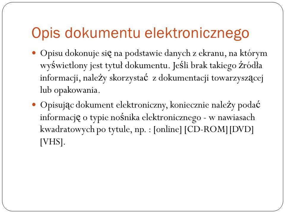 Opis dokumentu elektronicznego