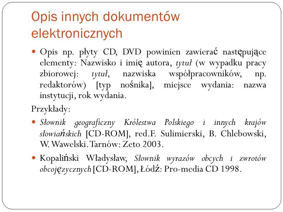 Opis innych dokumentów elektronicznych