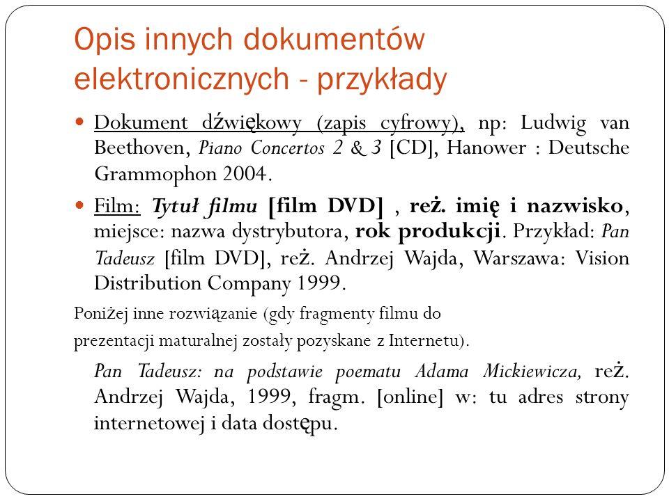 Opis innych dokumentów elektronicznych - przykłady