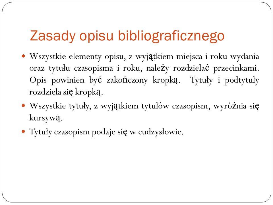 Zasady opisu bibliograficznego