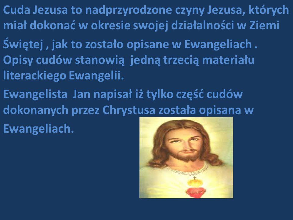 Cuda Jezusa to nadprzyrodzone czyny Jezusa, których miał dokonać w okresie swojej działalności w Ziemi Świętej , jak to zostało opisane w Ewangeliach .