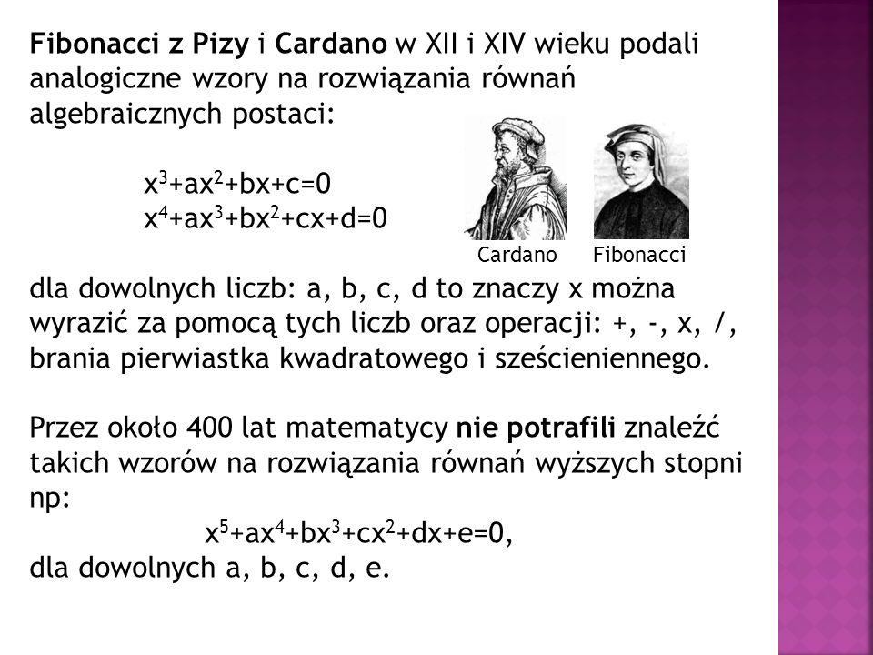 Fibonacci z Pizy i Cardano w XII i XIV wieku podali analogiczne wzory na rozwiązania równań algebraicznych postaci: