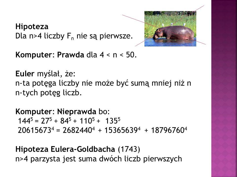 Hipoteza Dla n>4 liczby Fn nie są pierwsze. Komputer: Prawda dla 4 < n < 50. Euler myślał, że: n-ta potęga liczby nie może być sumą mniej niż n.