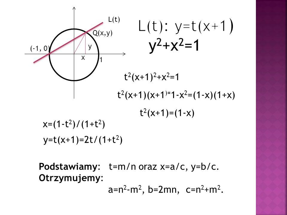 L(t): y=t(x+1) y2+x2=1 t2(x+1)2+x2=1 t2(x+1)(x+1)=1-x2=(1-x)(1+x)