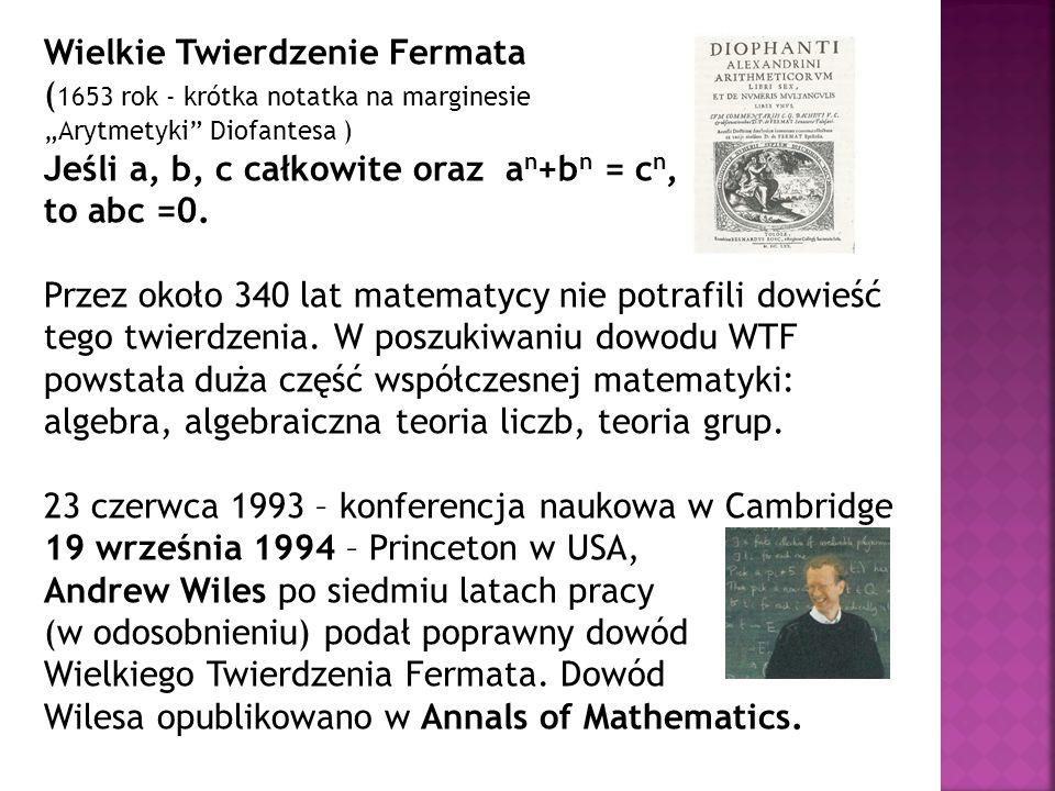 Wielkie Twierdzenie Fermata (1653 rok - krótka notatka na marginesie