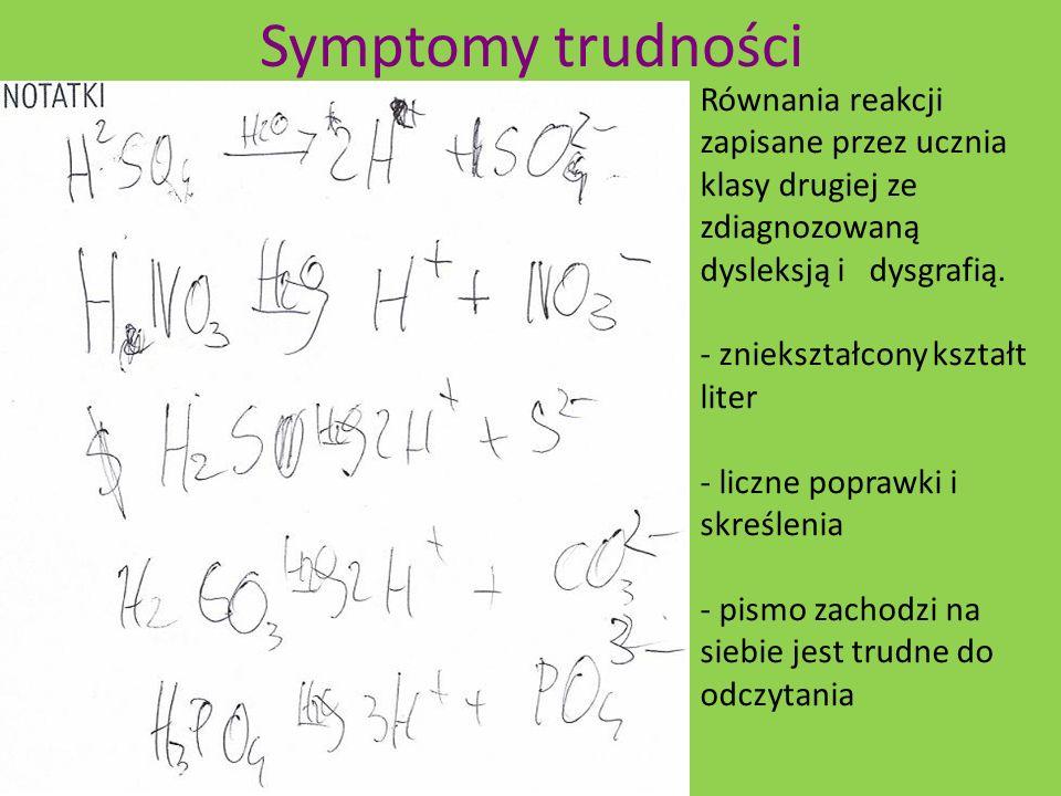 Symptomy trudności Równania reakcji zapisane przez ucznia klasy drugiej ze zdiagnozowaną dysleksją i dysgrafią.