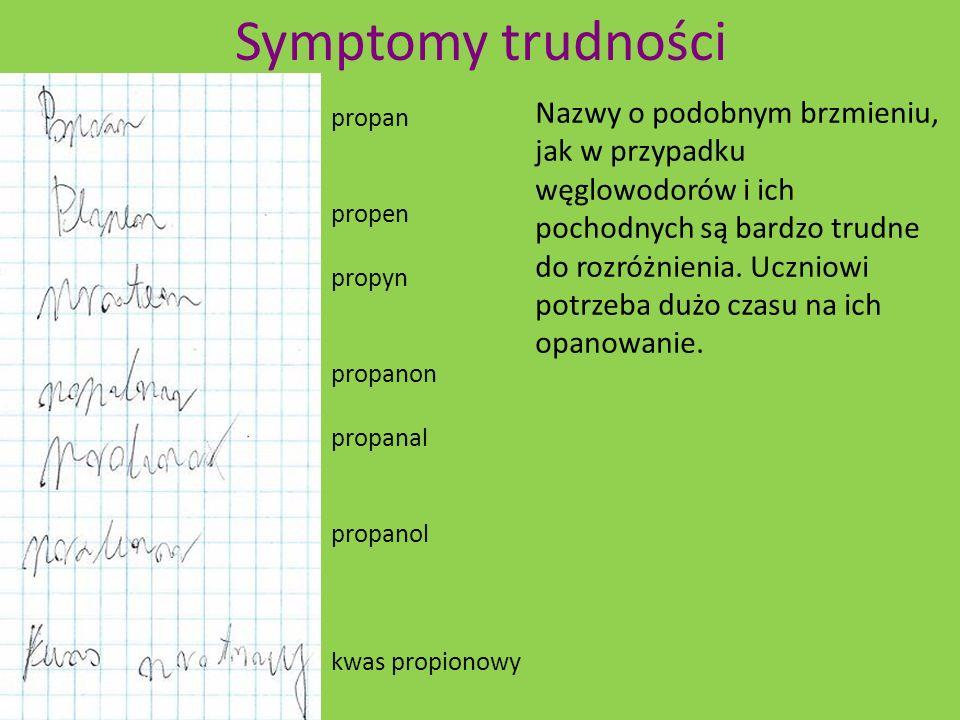 Symptomy trudności propan. propen. propyn. propanon. propanal. propanol. kwas propionowy.