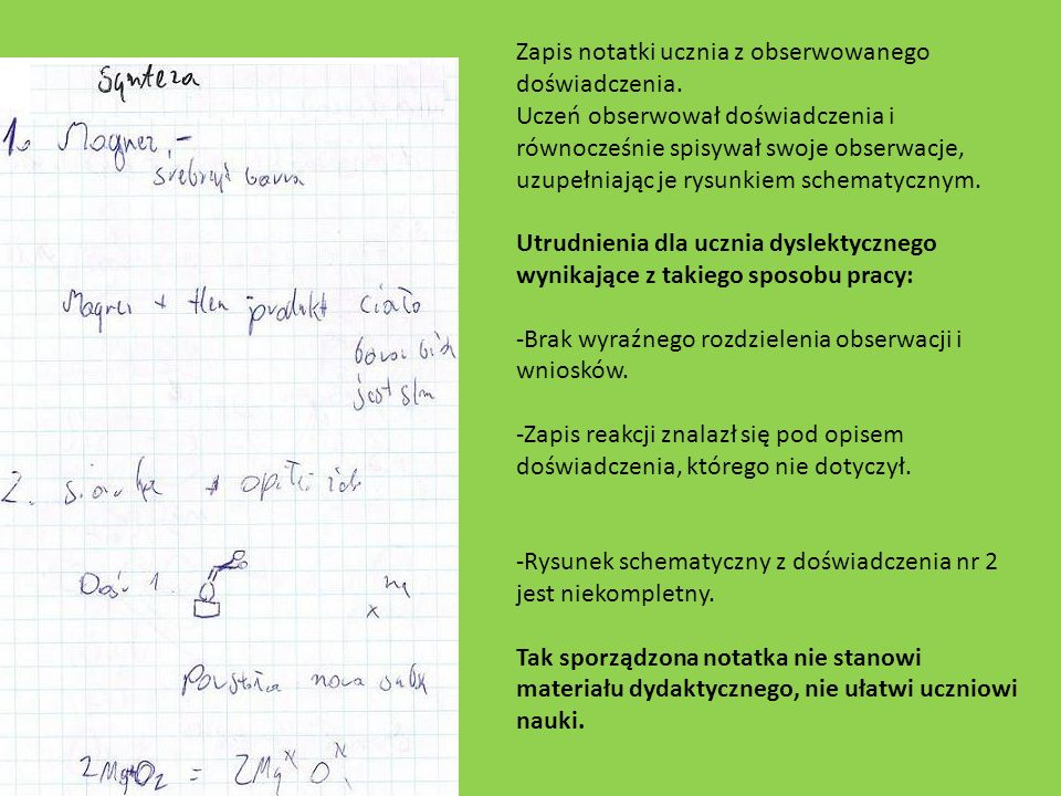Zapis notatki ucznia z obserwowanego doświadczenia.