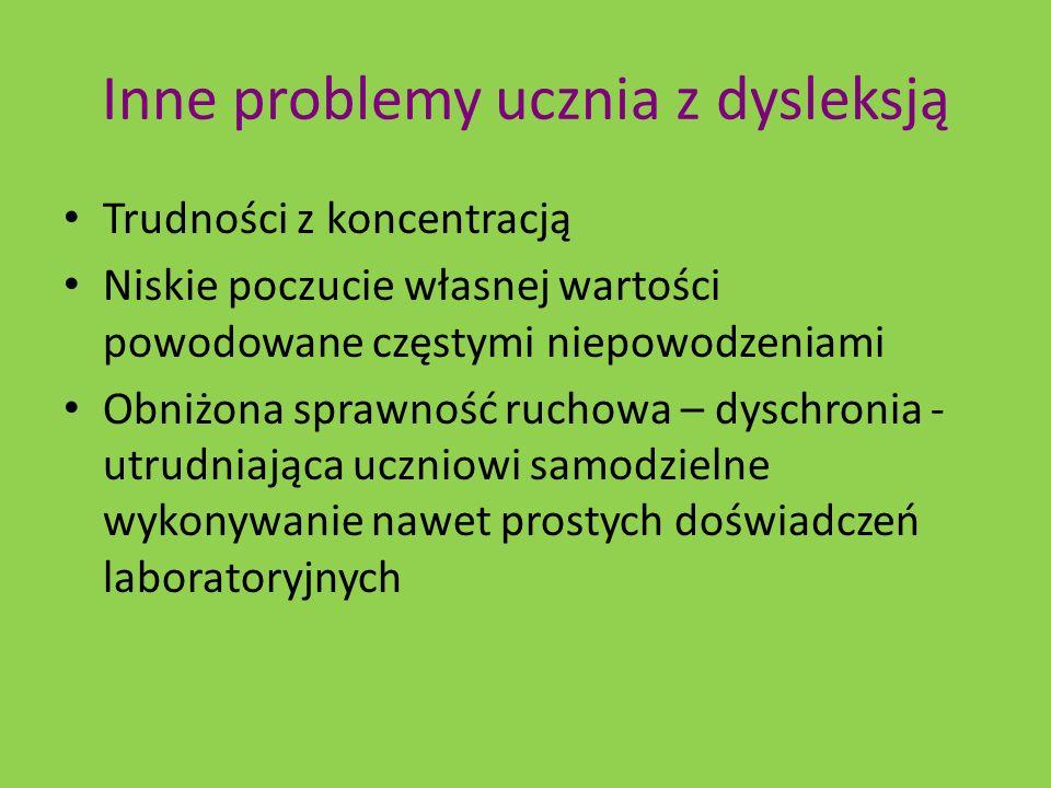 Inne problemy ucznia z dysleksją